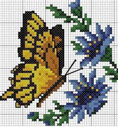Kreuzstichvorlagen von Etamin Butterfly - G. Butterfly Cross Stitch, Cross Stitch Flowers, Cross Stitching, Cross Stitch Embroidery, Embroidery Patterns, Cross Stitch Designs, Cross Stitch Patterns, Broderie Simple, Cross Stitch Boards