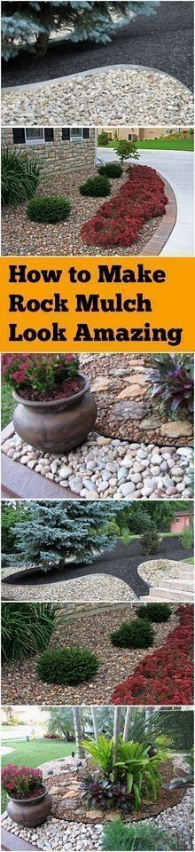 Rock mulch, landscaping with rock mulch, landscaping hacks, tips and tricks, gardening, gardening hacks, landscape and yard, outdoor living. #gardeninghacks