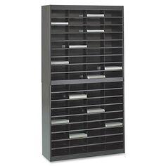 Safco Products 9241BLR E-Z Stor Literature Organizer, 72 Letter Size Compartments, Black