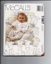 Infant Layette, McCall's 7367, Size Preemie, NB, SM, Med UNCUT