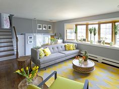 Contemporary Living-rooms from Anthony Carrino on HGTV grey at the neutral color