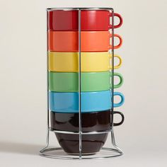 One of my favorite discoveries at WorldMarket.com: Multi-Color Jumbo Stacking Mugs Set of 6