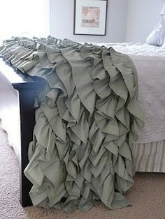 DIY: Ruffled Throw made from two king sized sheets. Love it!