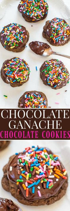 Chocolate Ganache Chocolate Cookies - A chocaholic's DREAM: Soft chocolate cookies with chocolate chips, cocoa, and topped with fudgy chocolate ganache! Rich, decadent, and heavenly! Nutella Chocolate Chip Cookies, Chocolate Ganache, Chocolate Desserts, Chocolate Chips, Chocolate Party, Chocolate Muffins, Köstliche Desserts, Delicious Desserts, Dessert Recipes