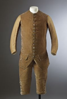 Breeches and waistcoat of a man's silk velvet suit, c.1770, part of the costume collection at Ham House, Surrey.