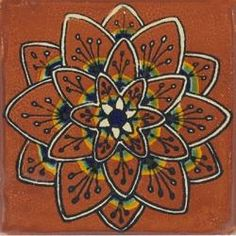 Terracotta Peacock - Ceramic Hand painted Mexican Talavera Tile
