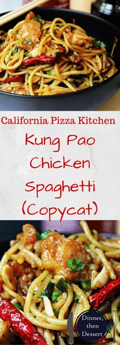 Deliciously spicy and sweet, this Kung Pao Chicken Spaghetti is a fan favorite and all time best seller from California Pizza Kitchen that you can make at home and with my adjustments enjoy it with about half the calories and ALL the taste! Pollo Kung Pao, Restaurant Recipes, Dinner Recipes, Asian Recipes, Healthy Recipes, California Pizza Kitchen, Asian Cooking, Mets, Copycat Recipes