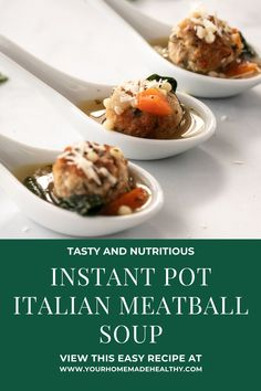 Instant pot Italian wedding soup is a warm and comforting soup for any occasion! It's quick, easy, and packed full of healthy ingredients. Serve it as a family dinner, quick and healthy lunch, or simple appetizer. Made with lots of vegetables, tender and juicy chicken meatballs, and clear chicken broth, this soup is as good for you as it is delicious! Store any extra in your freezer, and you'll be so happy to have a healing, healthy meal year round! Healthy Soup Recipes, Healthy Snacks, Italian Meatball Soup, Ground Chicken Recipes, Wedding Soup, Chicken Meatballs, Asian Cooking, Freezer, Appetizer