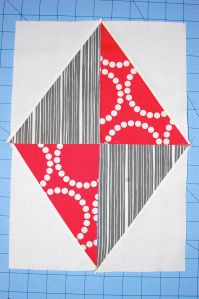 """From """"The Modern Quilt Guild,"""" how to easily make half-rectangle triangles."""