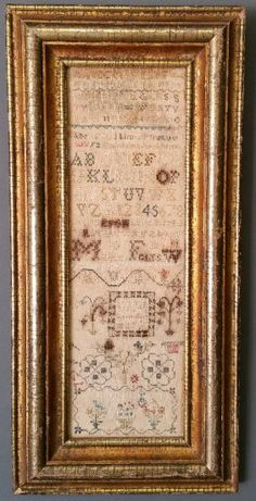 English Silk On Linen Sampler Wrought By Mary Folts,