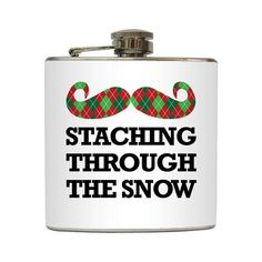 Staching Through The Snow Flask Mustache Funny by LiquidCourage.