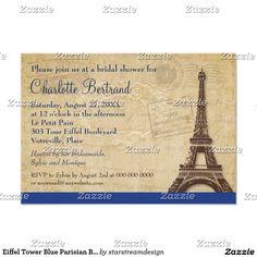Eiffel Tower Blue Parisian Bridal Shower