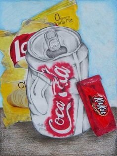 Art Ed Central loves this collage still life: cans & wrappers