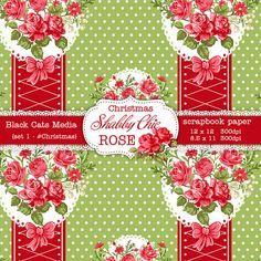 Christmas Shabby Chic Digital paper 12 x 12 in by BlackCatsMedia