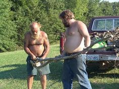 Sometimes you've got to cut wood, and sometimes you've got to do it near where you know it can really do some damage.  You might also want to take your shirts off and have huge beards.
