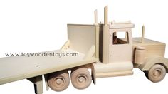 Wooden Toy Flatbed Trailer and Semi Truck Combo