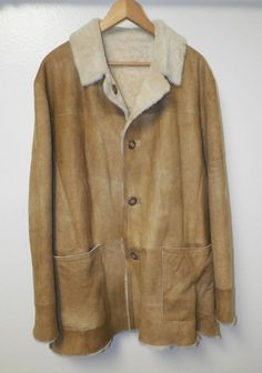 MEN'S CRISTIANO DI THIENE LEATHER BUTTON FRONT JACKET COAT SHEARLING LINED SZ L #CristianodiThiene #BUTTONFRONT