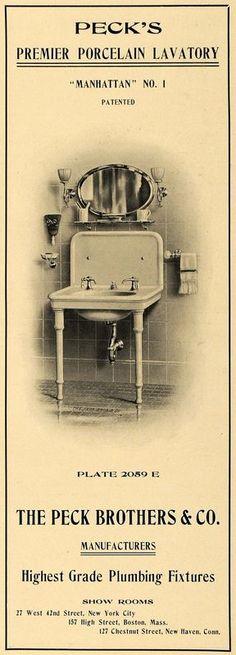 1902 Ad Peck Premier Porcelain Lavatory Manhattan Plumbing Bathroom Fixtures