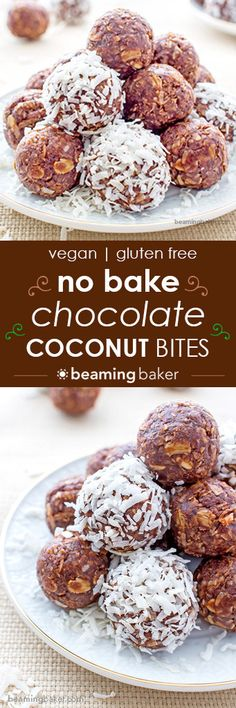 "No Bake Chocolate Coconut Bites: A one bowl recipe for soft, chewy and indulgent no bake chocolate coconut bites. Vegan, gluten-free and delicious. <a href=""http://BEAMINGBAKER.COM"" rel=""nofollow"" target=""_blank"">BEAMINGBAKER.COM</a> <a class=""pintag"" href=""/explore/Vegan/"" title=""#Vegan explore Pinterest"">#Vegan</a> <a class=""pintag"" href=""/explore/Glutenfree/"" title=""#Glutenfree explore Pinterest"">#Glutenfree</a> <a class=""pintag searchlink"" data-query=""%23NoBake"" data-type=""hashtag"" href=""/search/?q=%23NoBake&rs=hashtag"" rel=""nofollow"" title=""#NoBake search Pinterest"">#NoBake</a>"
