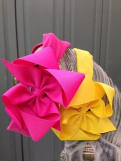"""3"""" Wide Soft Headband with 4"""" Grosgrain Bow {Ribbon is 1.5""""Wide} Size 3M-3T Price: $8.00, Free Shipping Options: Fuchsia/3M-3T (qty 2), Yellow/3M-3T (qty 2)"""