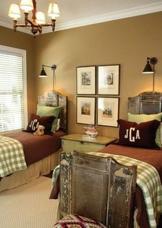 I dont think my boys would go for this, but man do I love it!!! shared bedroom with olive green walls