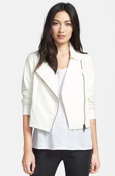 Eileen Fisher Short Leather Biker Jacket available at #Nordstrom