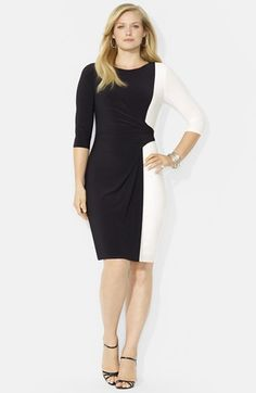 Lauren Ralph Lauren Colorblock Matte Jersey Dress (Plus Size) available at #Nordstrom