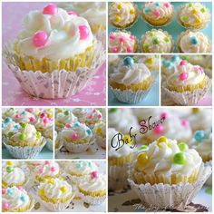 Baby Shower Cupcakes decorated with Celebration Candy from SweetWorks
