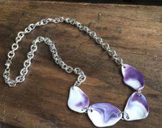 Wampum Shell Necklace Purple Seashell Jewelry by InnershellDesigns