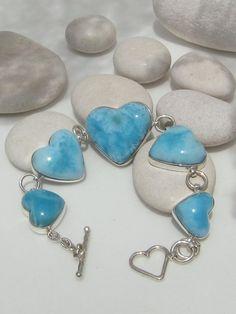 Larimar heart bracelet,
