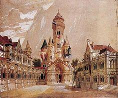 Castle Interior Design | Ideal design for Neuschwanstein Castle by Christian Jank in 1868,