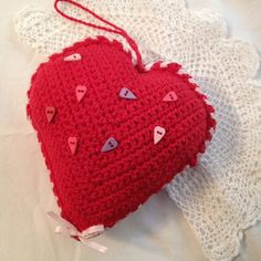 Crochet Heart Pillow  Red Sachet  Wedding Ring by iaFlowerPower, $19.00