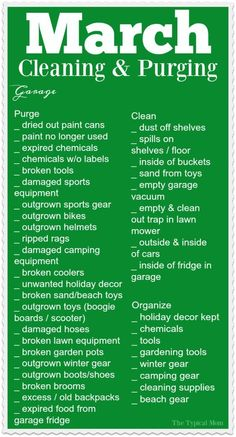 Here's a March cleaning checklist for you to get moving and organize that garage this month! SO helpful to have a free organization printable each month! via @thetypicalmom