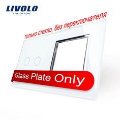 Envío Libre, livolo lujo de perlas de cristal blanco, 151mm * 80mm, estándar de LA UE, 2 Bandas y 1 Panel de Vidrio Del Marco, VL-C7-C2/SR-11