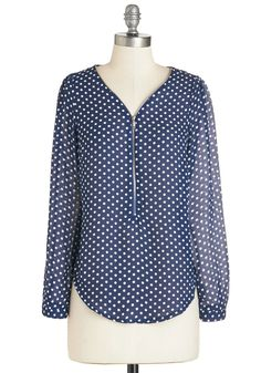 Cruise Zip Top in Navy Dots. Any voyage is made extra-pleasant when youre clad in this navy top! #blue #modcloth