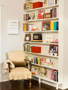 I love this narrow bookcase. It would be great for a small space or small nook. Functional and pretty!