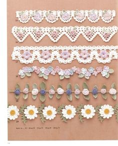 98 Flower Crochet Motif Pattern Y Japanese Crochet Patterns, Crochet Leaf Patterns, Crochet Lace Edging, Crochet Motifs, Crochet Designs, Crochet Stitches, Filet Crochet, Crochet Feather, Crochet Cord