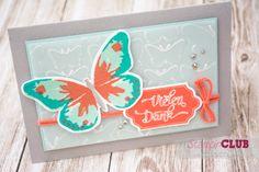 Stampin Up, Watercolor Wings, Gesagt gestanzt, Happy Notes, Prägeform Schmetterlingsschwarm, Fluttering Embossing Folder
