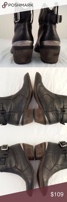 LUCKY BRAND Buckled Ankle Boots Great little black buckled boots by Lucky Brand! Metal band with the Lucky Brand logo at the heel. Soft leather uppers and leather soles. Fit true to size. Buckles are functional for sizing at the ankle as needed. Gently used - leather soles and heels show signs of wear - other than that they are in fantastic condition. You'll wear these a lot! From a non-smoking home. Lucky Brand Shoes Ankle Boots & Booties
