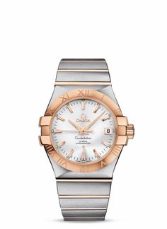 """The especially dramatic and enduring design concept of the OMEGA Constellation line is characterized by its famous """"Griffes"""", or claws, and striking dials. This model features a silver dial with a date window at the 3 o'clock position and a scratch-resistant sapphire crystal. The 18K red gold bezel, with its engraved Roman numerals, is mounted on a 35 mm stainless steel casebody, and is presented on a stainless steel and 18K red gold bracelet. This timepiece is powered by the Co-Axial..."""