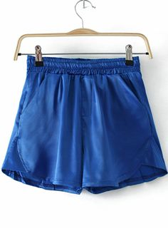 Blue Elastic Waist Pockets Loose Shorts US$18.02