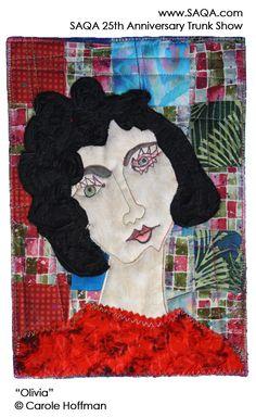 Art quilt by Carole Hoffman #artquilts #SAQA #GoRedForWomen