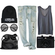 comme des fuckdown by somefashionblogger on Polyvore featuring moda, American Vintage, Ann Demeulemeester, OBEY Clothing, The Row, Holga and outfit
