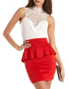 delicate lace-top peplum dress from charlotte russe