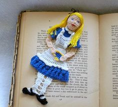 Alice in Wonderland Crochet Bookmark/ Applique ~ pattern available