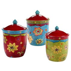 Certified International Tunisian Sunset 3-pc. Kitchen Canister Set, Multicolor