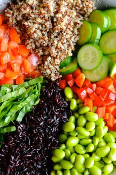 Quinoa, Edamame & Black Rice Salad Edamame Salad, Edamame Beans, Cooking Black Rice, Quinoa Health Benefits, Black Rice Salad, Red Split Lentils, Quinoa Spinach, Persian Cucumber, Toasted Pumpkin Seeds