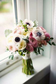 Beautiful Bouquet Of White Anemones, White English Garden Roses, White Ranunculus, Light Pink Ranunculus, Dark Pink Ranunculus, Dusty Miller, Green China Berry, & Ruscus^^^^