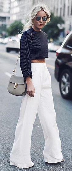 Wide leg pants, striped crop top, and neutral Chloé purse