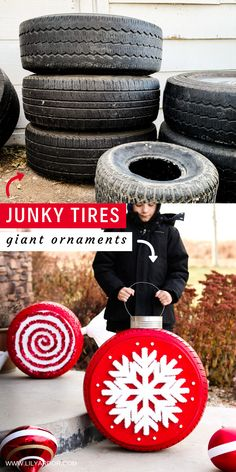 How To Recycle Old Tires Into Giant Ornaments For The Yard! # DIY Home Decor for girls Christmas Tire Ornaments Gingerbread Christmas Decor, Outside Christmas Decorations, Noel Christmas, Diy Christmas Ornaments, Christmas Projects, Simple Christmas, Winter Christmas, Holiday Crafts, Christmas Ideas
